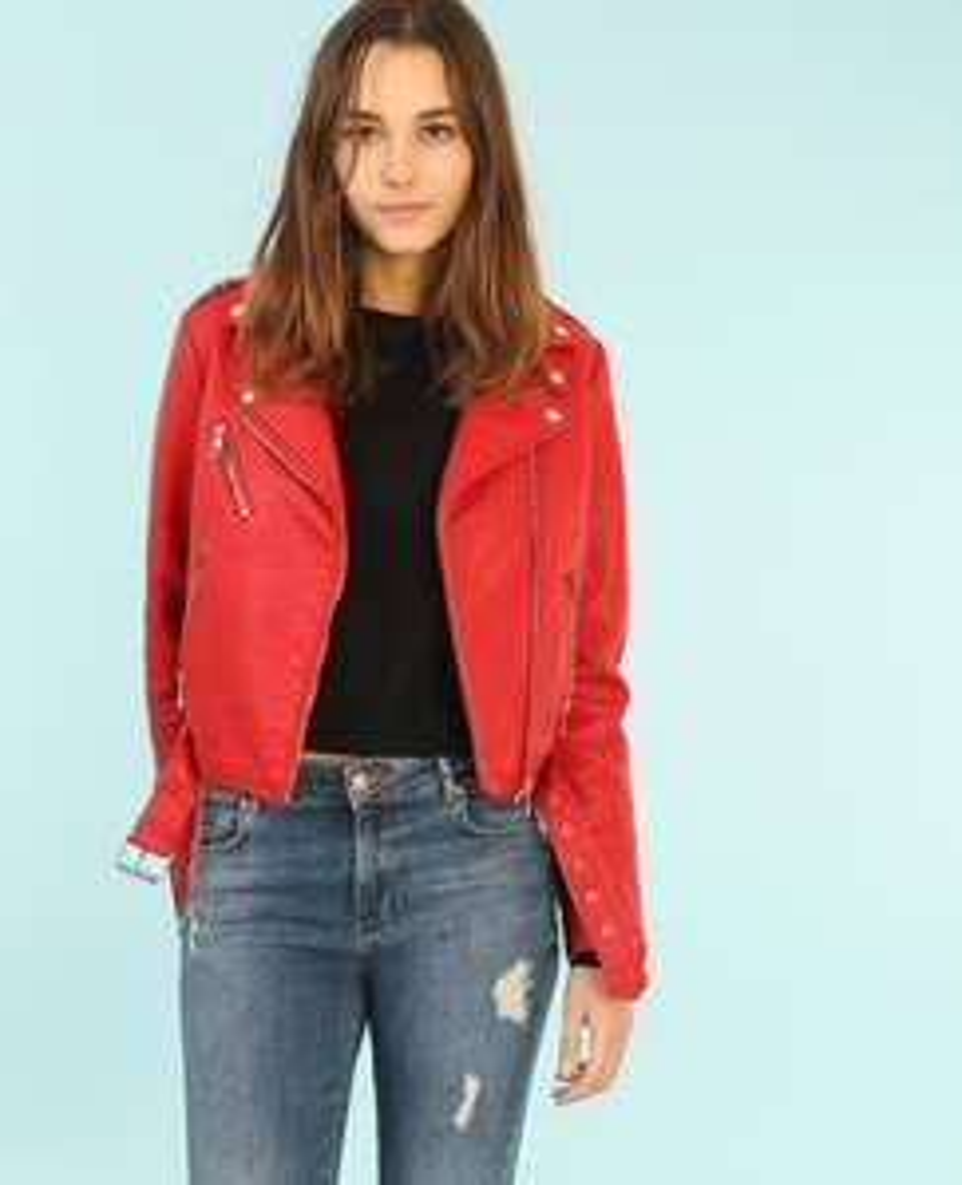 Veste biker rouge ou blanche - Taille XS, S, M ou L