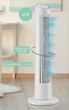 Ventilateur colonne SilverCrest - 45 W, 3 vitesses, blanc