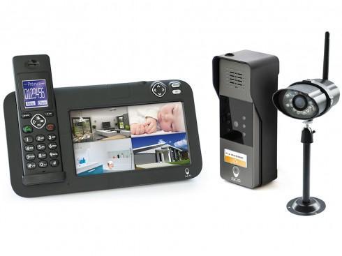 Kit d'interphone vidéo - caméra de surveillance + dock avec écran + platine de rue
