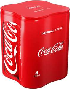 4 Packs de 4 canettes de Coca-Cola - 16x25cl