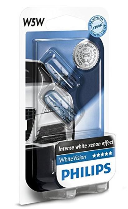 Set de 2 ampoules auto Philips WhiteVision Effet Xénon W5W 12961NBVB2