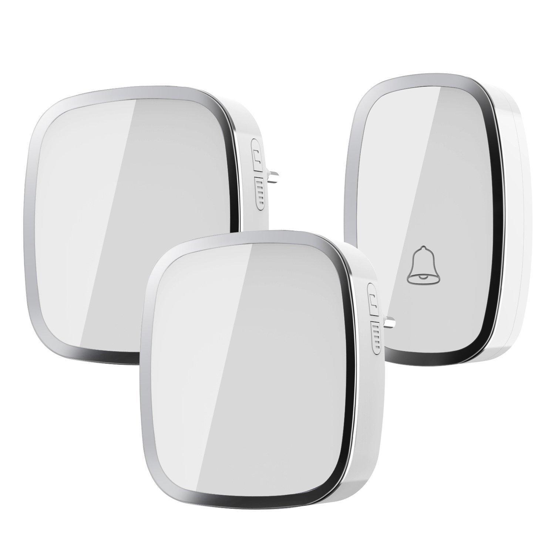 Kit sonnette sans fil étanche ILOME avec 2 récepteurs (280m de portée)