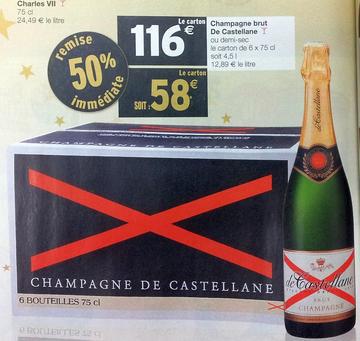 50% sur le carton de 6 bouteilles de Champagne brut de De Castellane ou demi sec