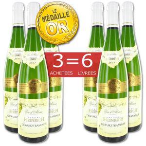 6 bouteilles de vin blanc Gewurztraminer 2011 Heinrich