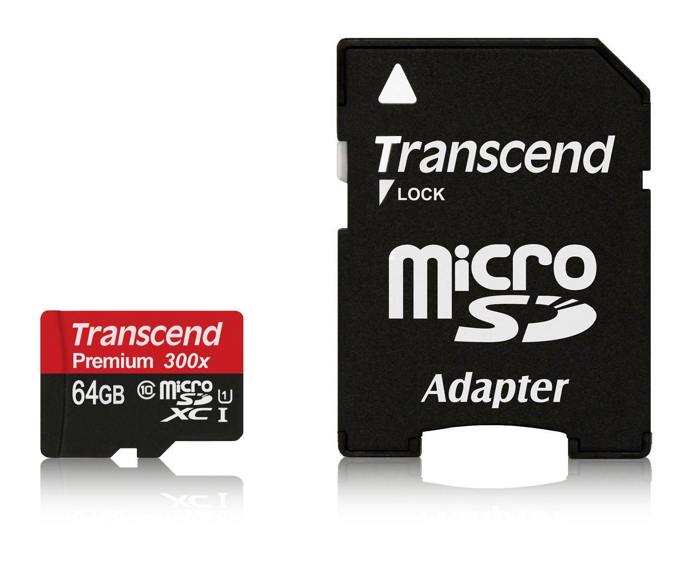 Carte mémoire MicroSDXC Transcend 64 Go Classe 10 UHS-I avec adaptateur