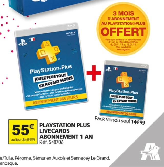 Un abonnementd'un an au PlayStation Plus acheté = 3 Mois supplémentaires offerts