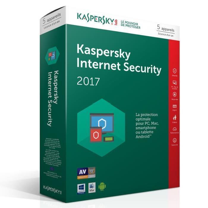 Licence Antivirus Kaspersky Internet Security 2017 - 3 appareils, pendant 1 an (Dématérialisé)