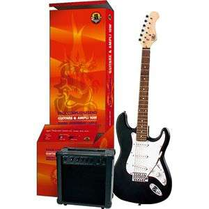 Pack guitare électrique + ampli Legend type Strato Noir brillant