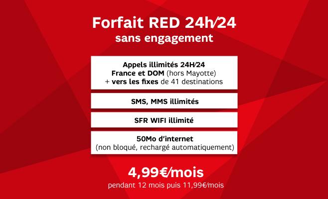 Ventes Privées RED by SFR : Forfait 3 Go pendant 12 mois à 11.99€, Forfait 24/24 pendant 12 mois