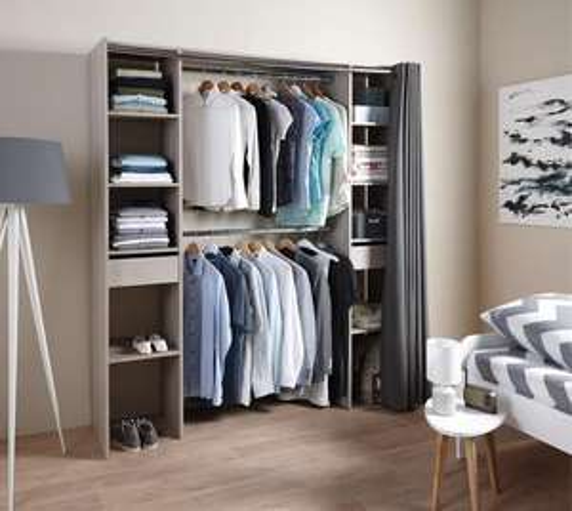 kit dressing imitation chne grise avec rideau xx with kit dressing rideau. Black Bedroom Furniture Sets. Home Design Ideas