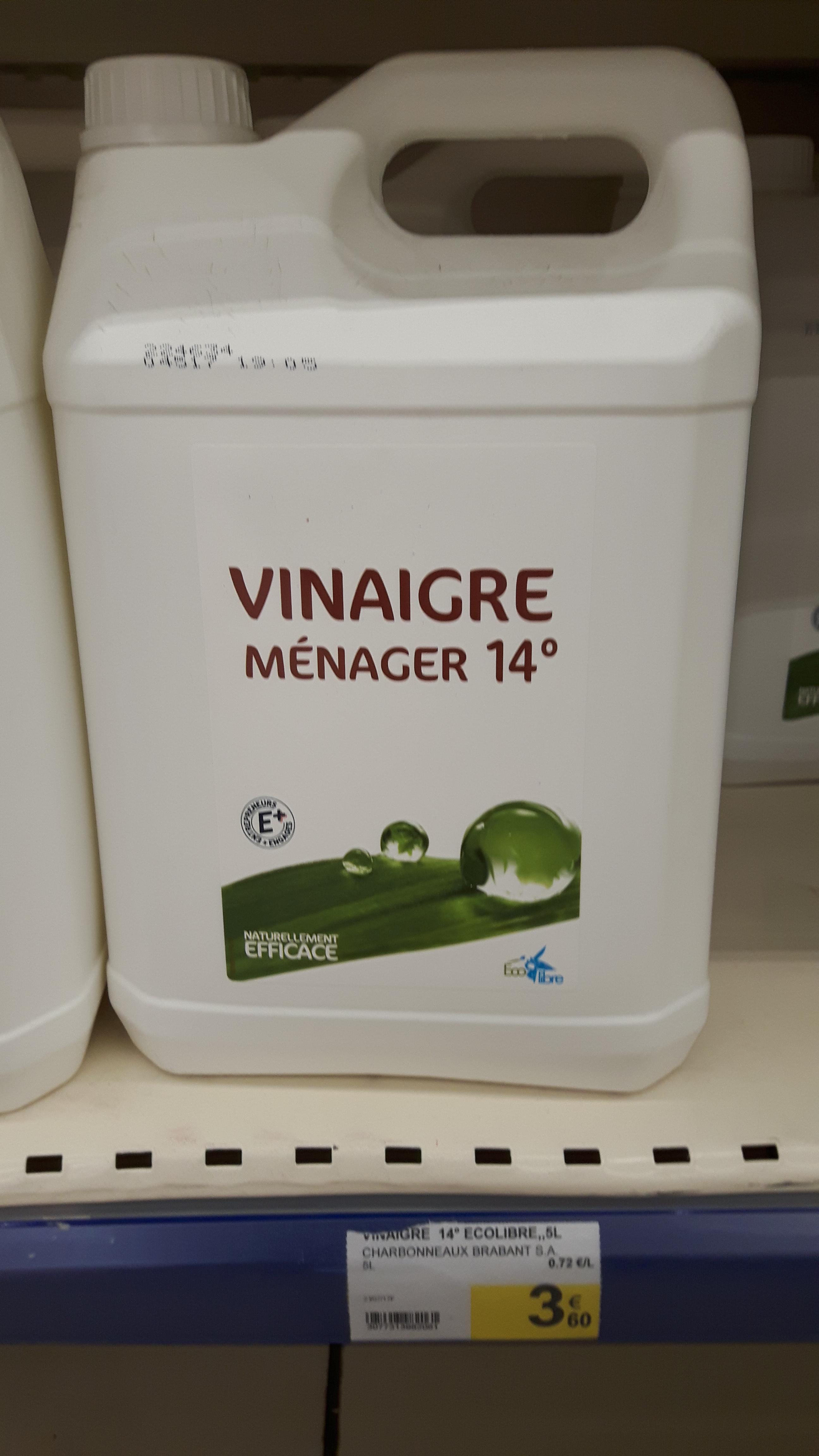 Bidon de vinaigre ménager concentré à 14°- 5L