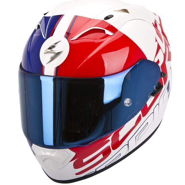 Casque Moto Exo-1200 Air Quarterback Scorpion Blanc / Rouge / Bleu - Tailles : S, M ou L