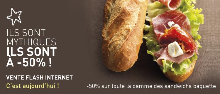 Aujourd'hui seulement (mais livraison décalée possible) : -50% sur les sandwichs