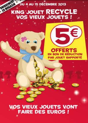 5€ offert en bon de réduction (valable dès 30€ d'achats) par jouet rapporté