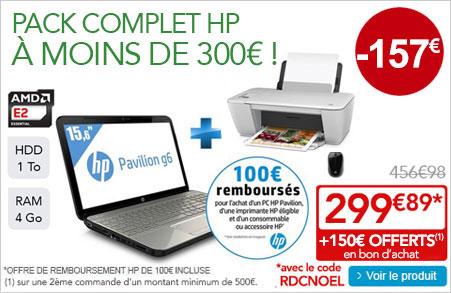 PC portable HP Pavilion G6-2331SF + imprimante HP 3-en-1 WiFi Deskjet 2542 + Souris (Avec ODR 100€) + 150€ en bon d'achat