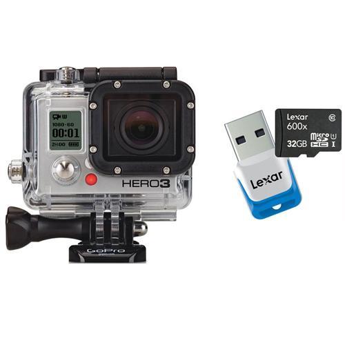 Caméra GoPro HD Hero3 Black Edition avec carte mémoire microSDHC Lexar 32 Go Class10