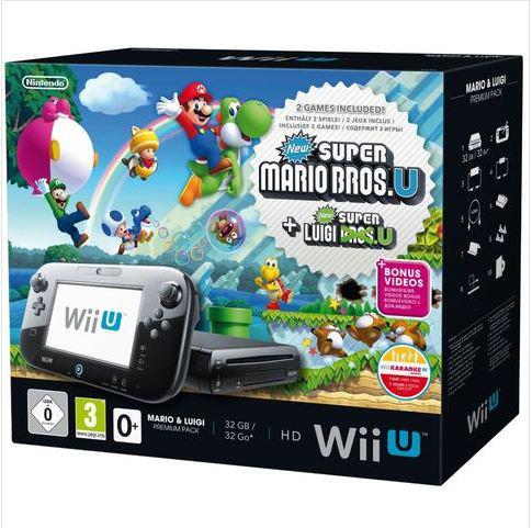 Pack Wii U 32 Go +  2 jeux  : New Super Mario Bros. U et New Super Luigi. U (avec -33€ Skyrock Cashback carte Mozaic)