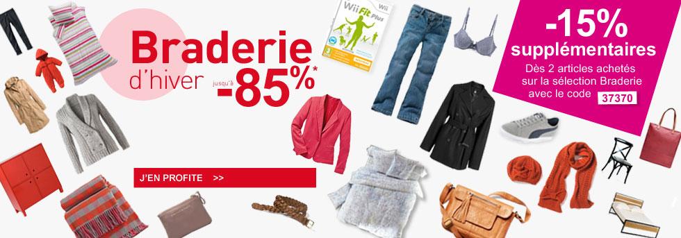 """Braderie d'hiver dans """"Les aubaines"""", jusqu'à -85 % + 15% supplémentaires dès 2 articles achetés"""