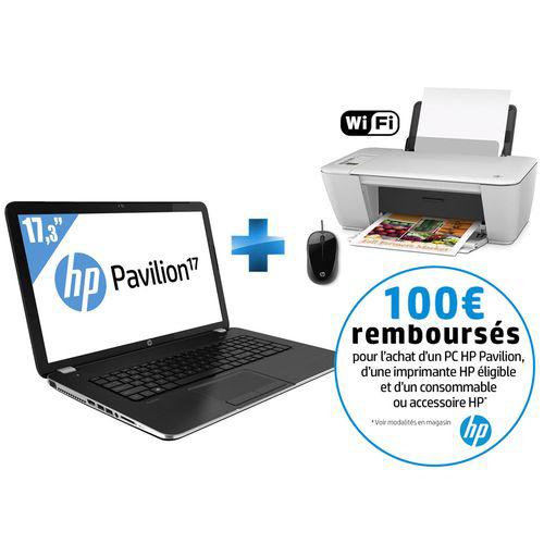 """PC Portable 17"""" HP Pavilion 17-E076SF + Imprimante HP Deskjet 2542 3-en-1 + Souris (Avec ODR 100€)"""