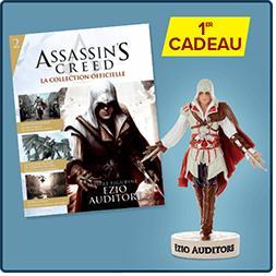 Figurine Altaïr Ibn-La'ahad + Figurine Ezzio Auditore + 1 figurine+ 3 fascicules + Chope Assassin's Creed + Porte-clé Assassin's Creed