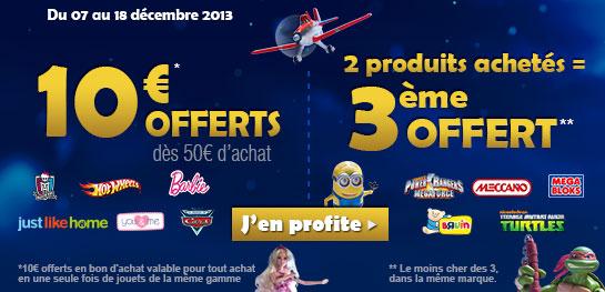 10€ en bon d'achat offert dés 50€ d'achat sur une sélection de produits