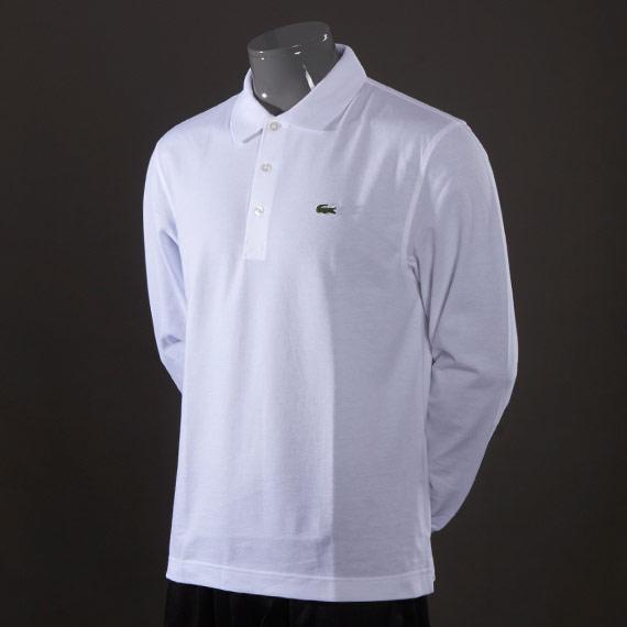 Polo Lacoste L1330 Blanc à Manches Longues pour Hommes - Tailles au choix