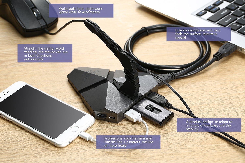 Hub USB Milool (4 ports) - avec support pour câble de souris + câble (1.2 m)