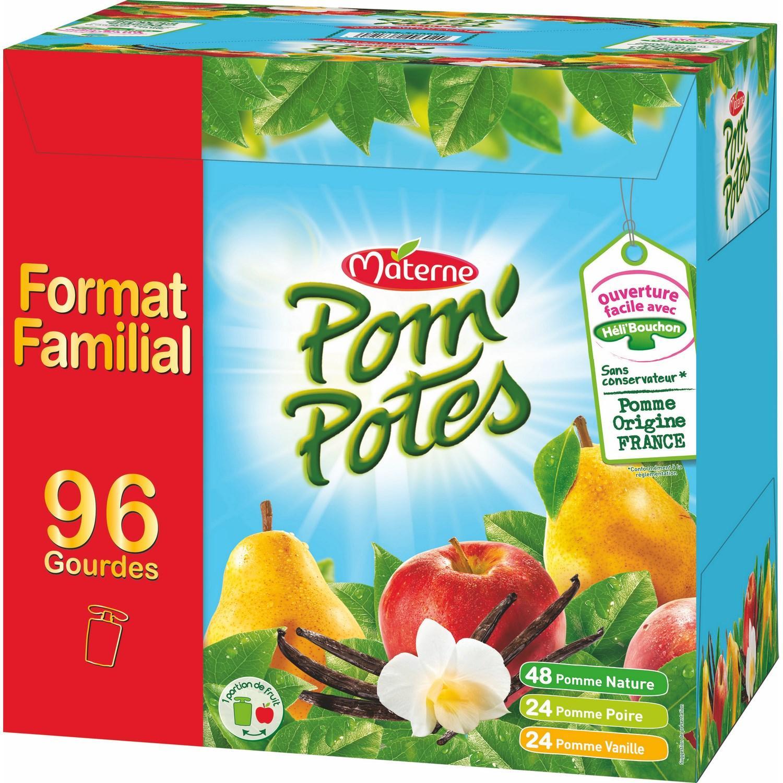 Pack de 96 gourdes de compote Pom'Potes - différents parfums, 90 g