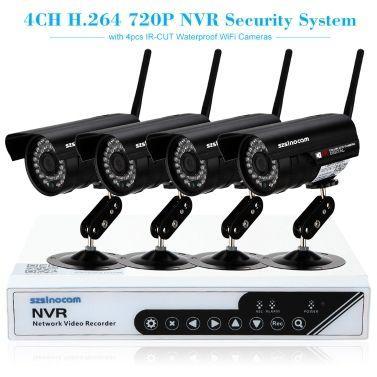 Kit de vidéosurveillance avec caméras IP Szsinocam 4CH HD 720P H.264 NVR