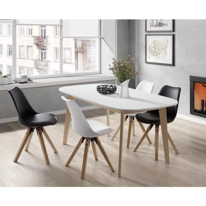 Table à manger extensible Naiss de 6 à 8 personnes scandinave pieds bouleau massif + plateau mélaminé blanc - L 160 à 200 x l 90 cm