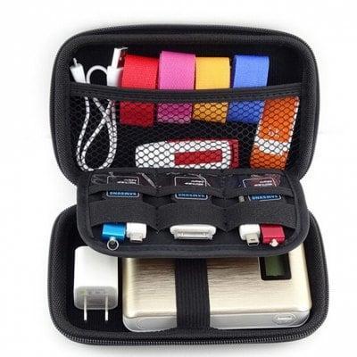 sacoche de rangement pour batterie externe et accessoires noir. Black Bedroom Furniture Sets. Home Design Ideas