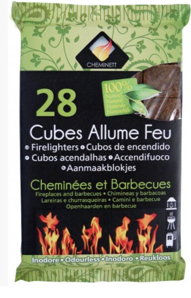3 x 28 Allumes feu cubes 100% Naturel - frais de port inclus