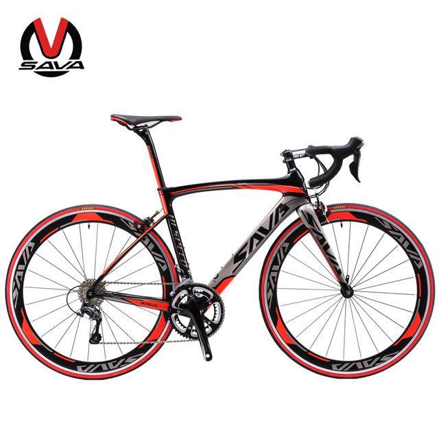 Vélo de Course Pro Sava 700C en Aluminium et Fibre de Carbone avec Dérailleur Shimano Sora M3000 (18 Vitesses) - Tailles et Coloris au choix