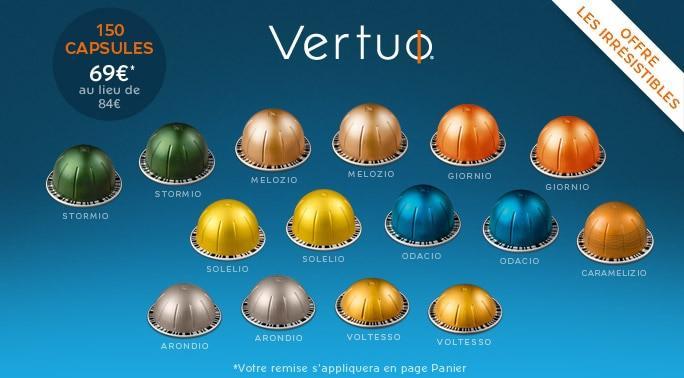 Lot de 150 capsules de café Nespresso Vertuo - différentes variétés