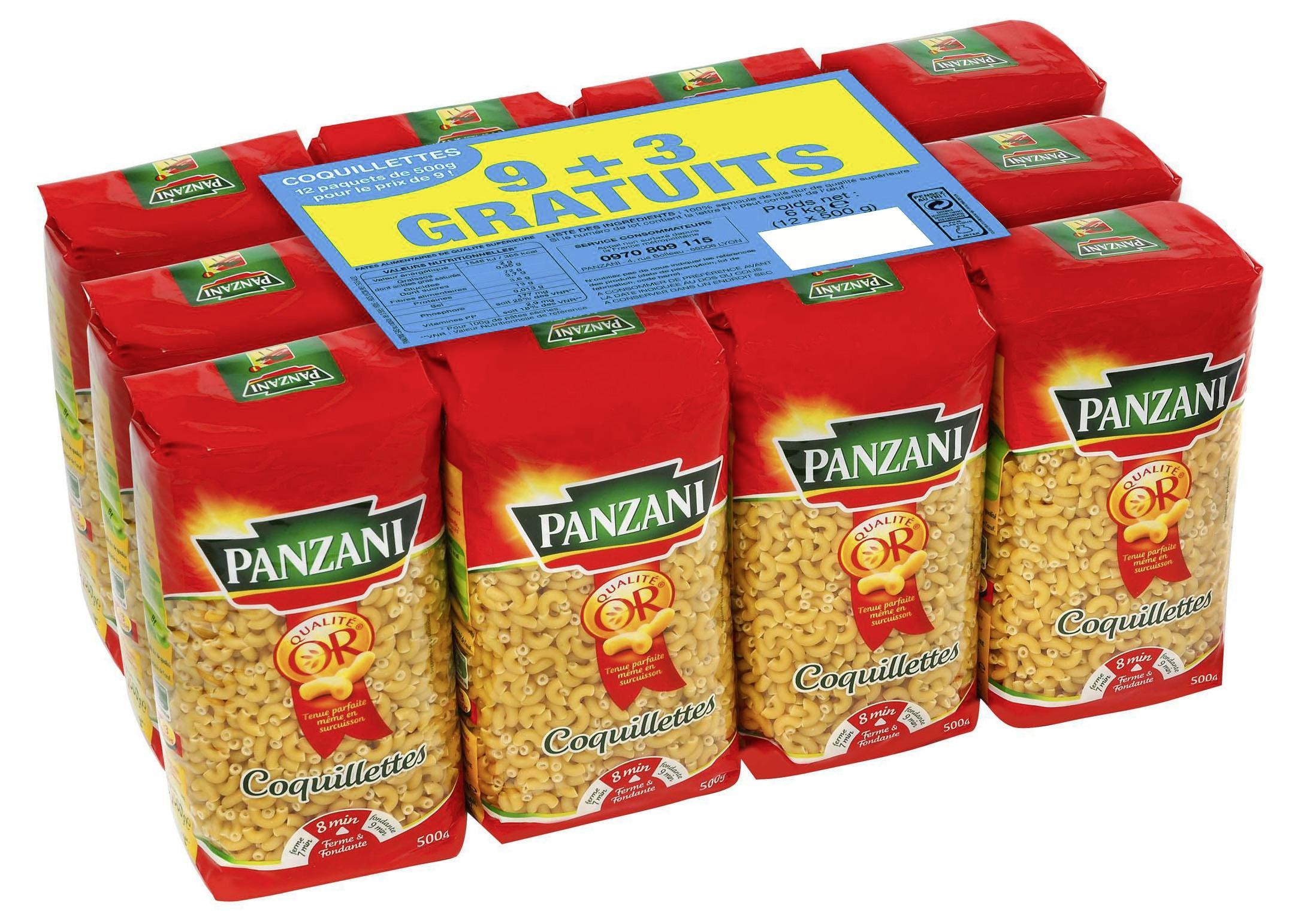 Lot de 12 paquets de Pâtes Panzani (coquillettes ou torti) - 500g
