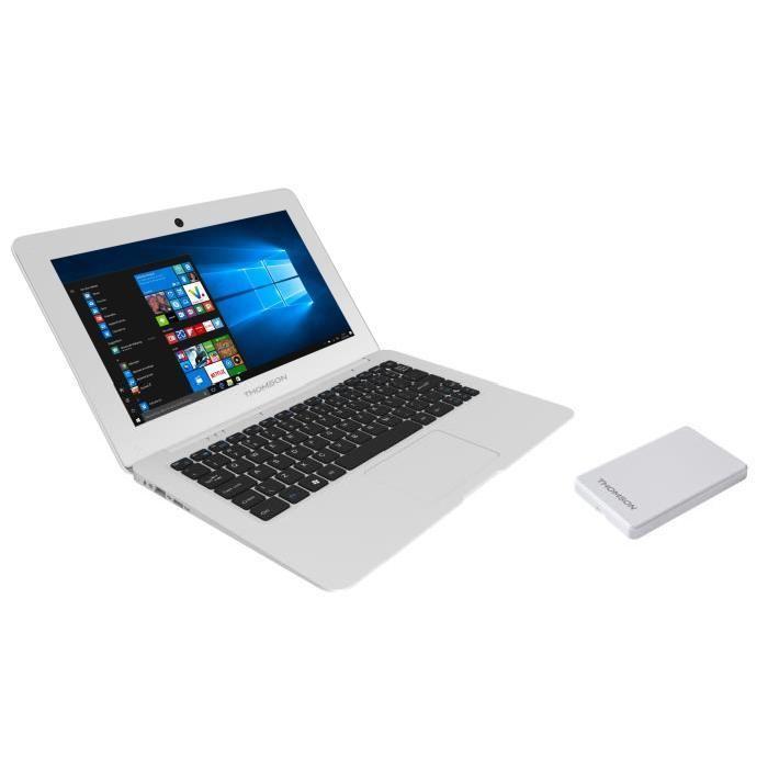 """PC Portable 14.1"""" Thomson THN14B - HD, Intel BayTrail Z3735F, RAM 2 Go, eMMC 32 Go, Windows 10 + Disque Dur Externe 120 Go"""