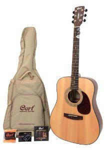 Guitare folk acoustique Cort Earth 60 + accessoires (Housse, sangle, accordeur...)