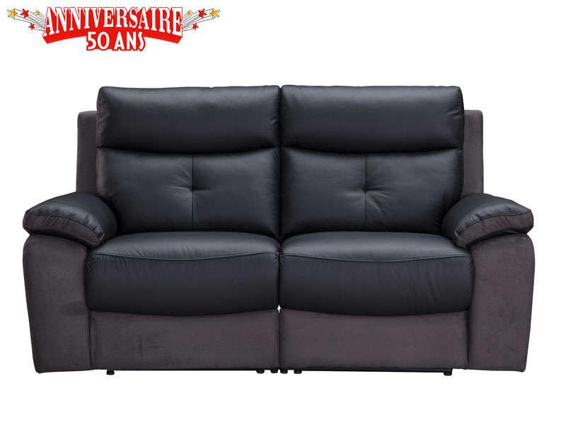 Canapé Places Teddy Avec Relaxation électrique En Cuir Tissu - Canapé cuir tissu