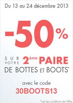 50% sur la deuxième paire de bottes et boots