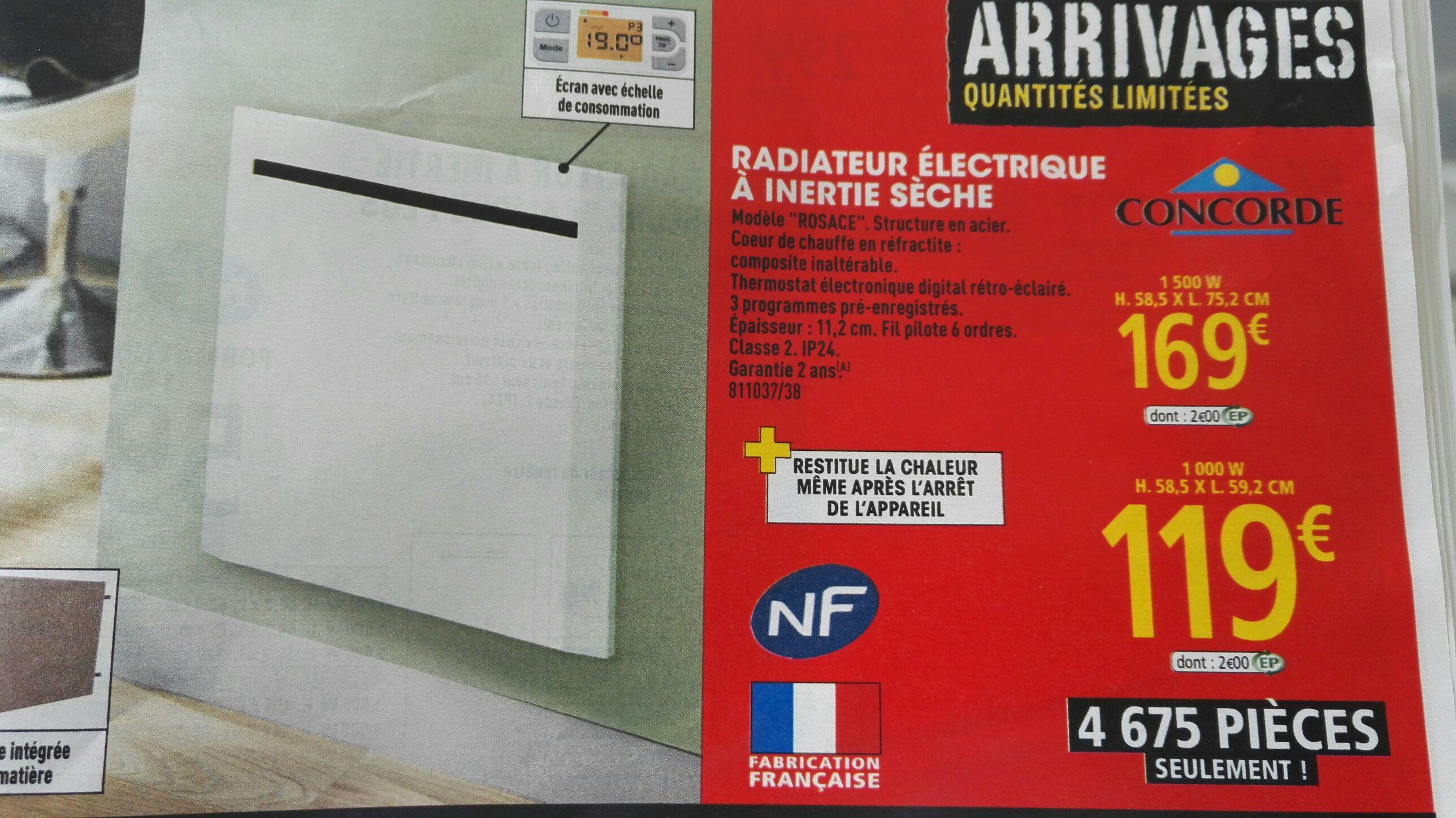 Radiateur électrique à Inertie Sèche Concorde Rosace 1000w