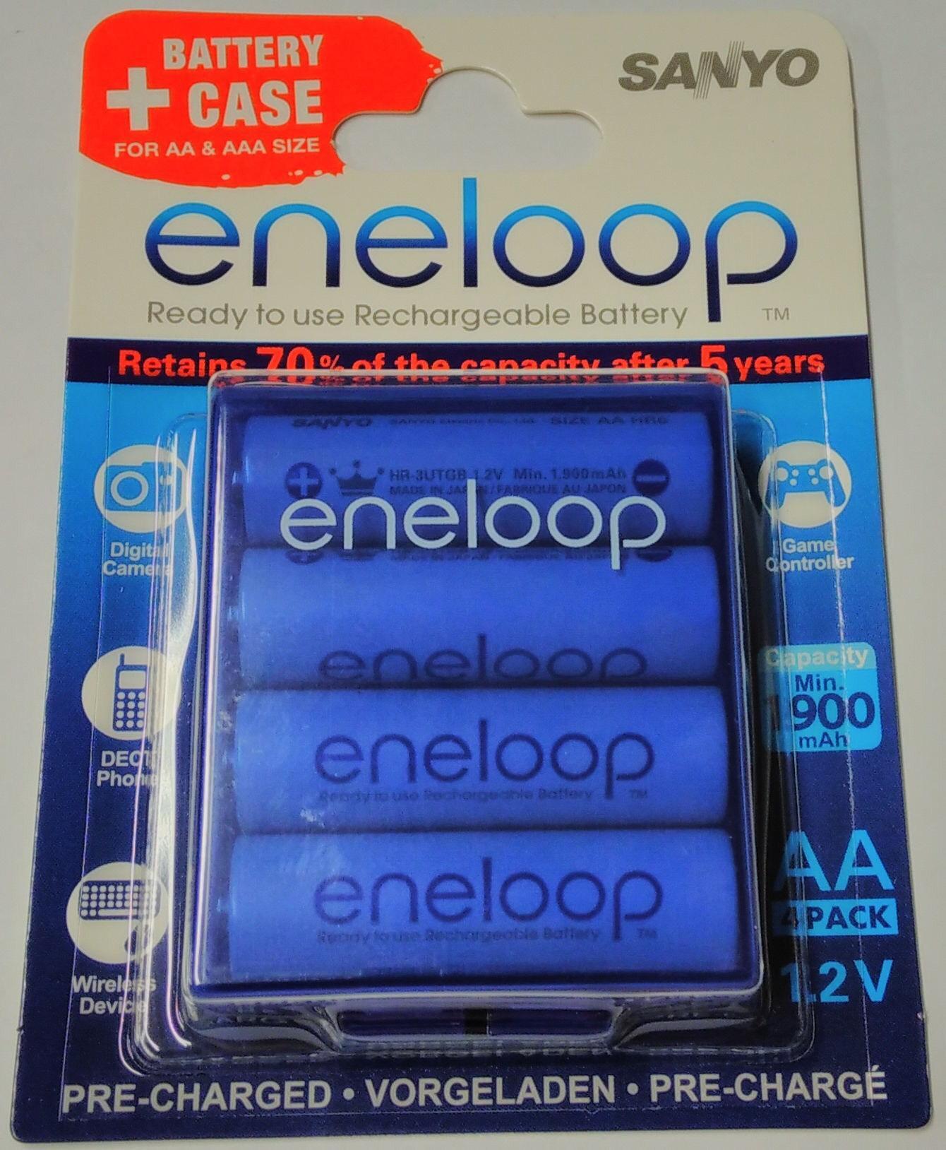 8 accus AA rechargeables Eneloop avec boîtier de rangement