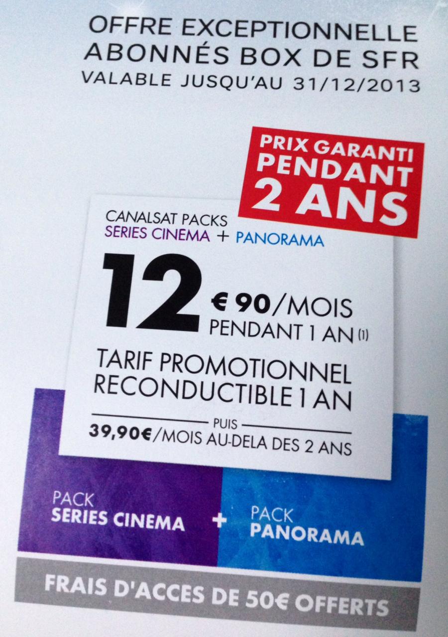 [Réservé aux abonnés Box de SFR] CanalSat Séries Cinéma + Panorama, par mois, pendant 2 ans