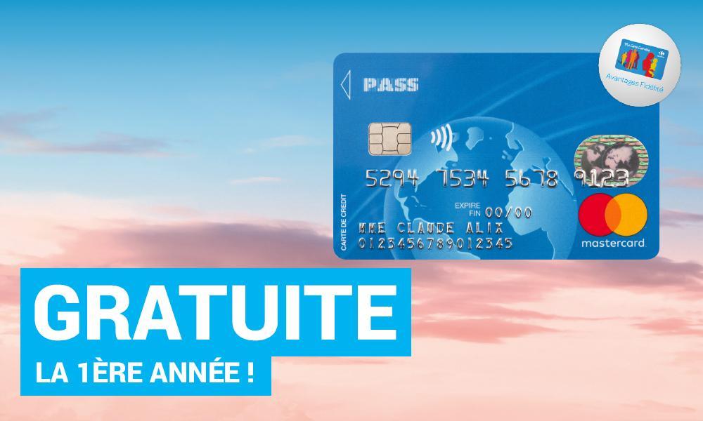 Carte Pass Standard Carrefour gratuite la première année (au lieu de 14€)