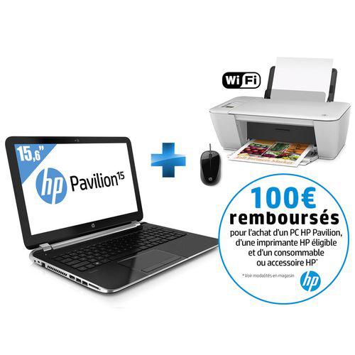 PC portable HP Pavilion 15,6'' - Intel Core i3 + imprimante WiFi Deskjet 2542 + souris filaire (avec ODR 100€)