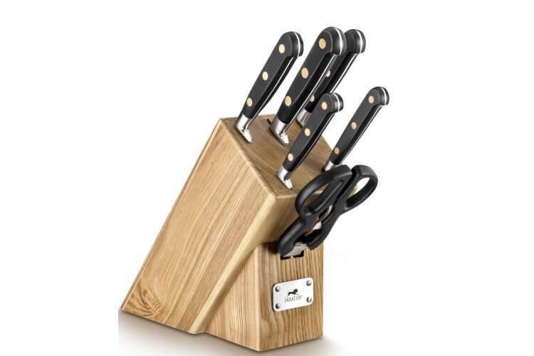 bloc de 5 couteaux de cuisine sabatier chef 1 paire de ciseaux. Black Bedroom Furniture Sets. Home Design Ideas