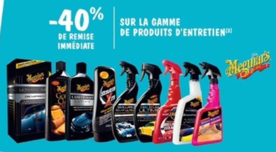 40% de réduction sur les produits d'entretien Meguiar's