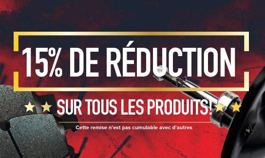 15% de réduction sur tous les produits