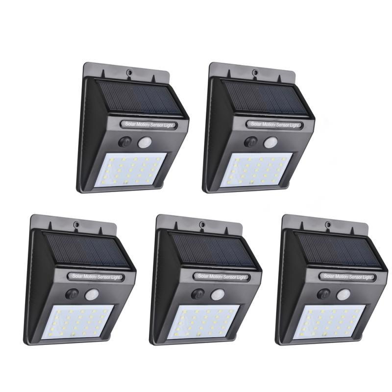 Lot de 5 Lampes solaires - 25 LED avec détecteur de mouvement