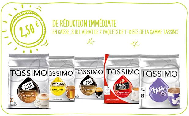 2,5€ de réduction pour l'achat de 2 paquets des dosettes Tassimo