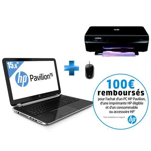 """PC Portable 15.6"""" HP Pavilion 15-N029SF + Imprimante Wi-fi HP Envy 4502 + Souris filaire HP (Avec ODR de 100€)"""